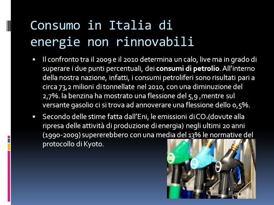Consumo in Italia di energie non rinnovabili Il confronto tra il 2009 e il 2010 determina un calo, live ma in grado di superare i due punti percentuali, dei consumi di petrolio.