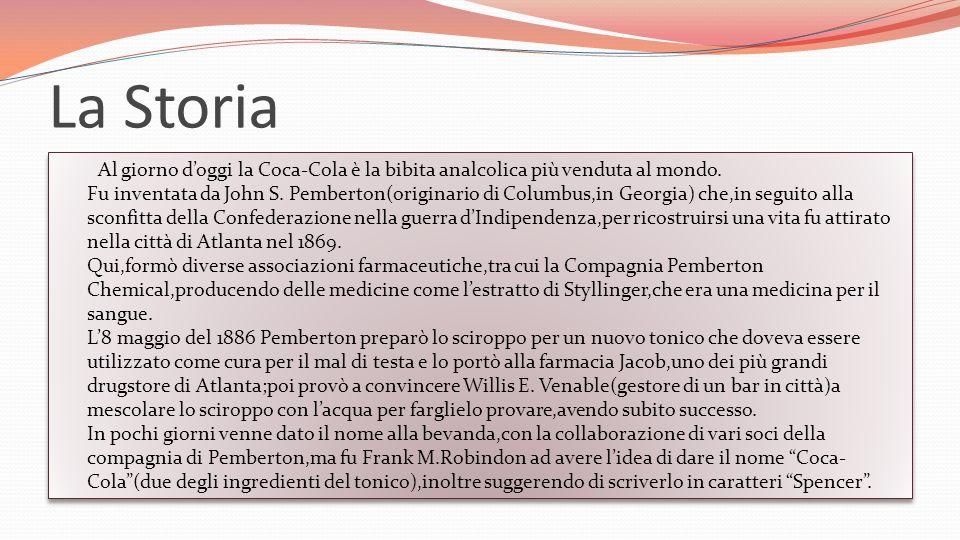 La Storia Al giorno doggi la Coca-Cola è la bibita analcolica più venduta al mondo.