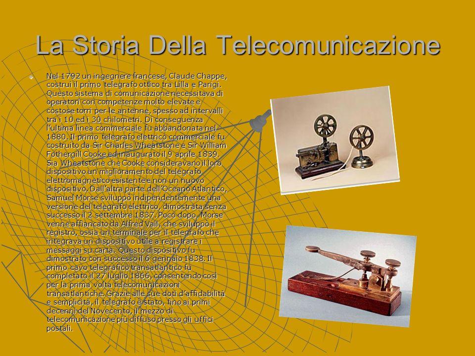 La Storia Della Telecomunicazione Nel 1792 un ingegnere francese, Claude Chappe, costruì il primo telegrafo ottico tra Lilla e Parigi. Questo sistema