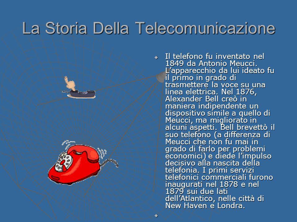 La Storia Della Telecomunicazione Il telefono fu inventato nel 1849 da Antonio Meucci. Lapparecchio da lui ideato fu il primo in grado di trasmettere