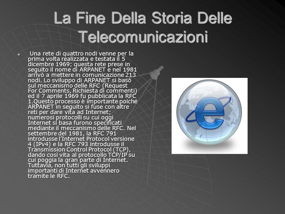 La Fine Della Storia Delle Telecomunicazioni Una rete di quattro nodi venne per la prima volta realizzata e testata il 5 dicembre 1969; questa rete pr