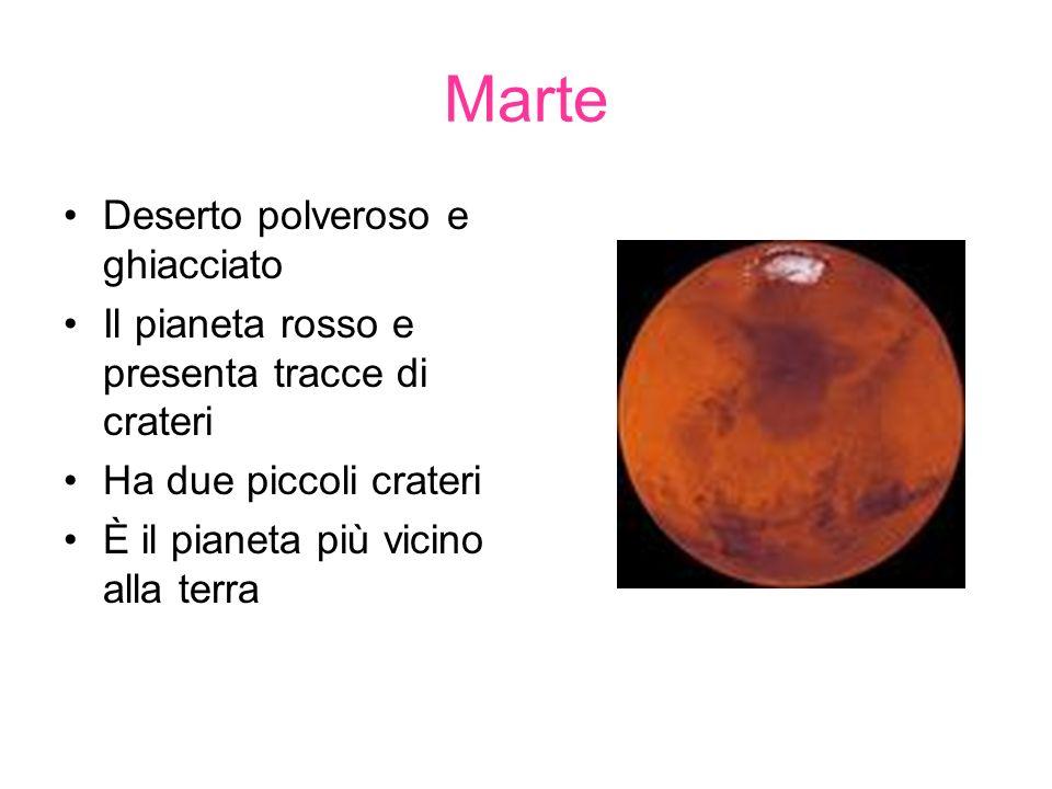 Marte Deserto polveroso e ghiacciato Il pianeta rosso e presenta tracce di crateri Ha due piccoli crateri È il pianeta più vicino alla terra