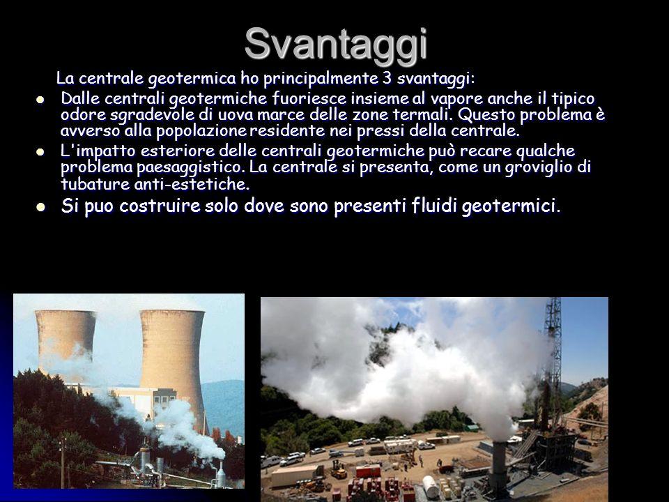Svantaggi La centrale geotermica ho principalmente 3 svantaggi: La centrale geotermica ho principalmente 3 svantaggi: Dalle centrali geotermiche fuoriesce insieme al vapore anche il tipico odore sgradevole di uova marce delle zone termali.