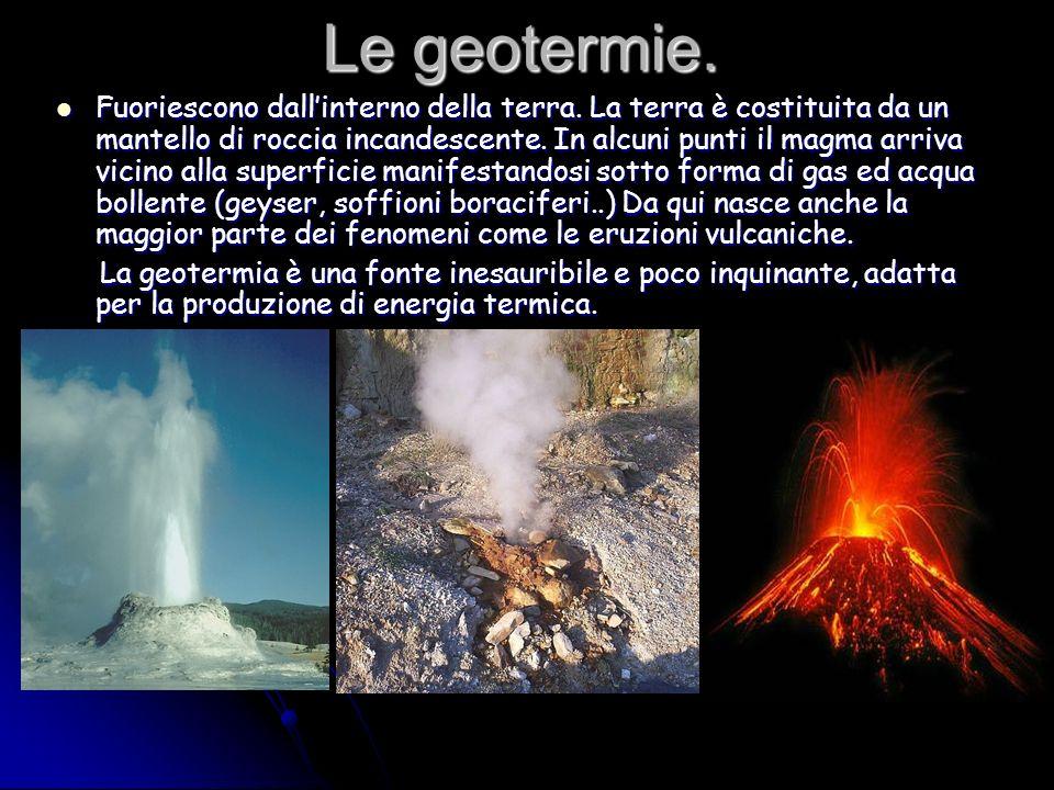 Le geotermie. Fuoriescono dallinterno della terra. La terra è costituita da un mantello di roccia incandescente. In alcuni punti il magma arriva vicin