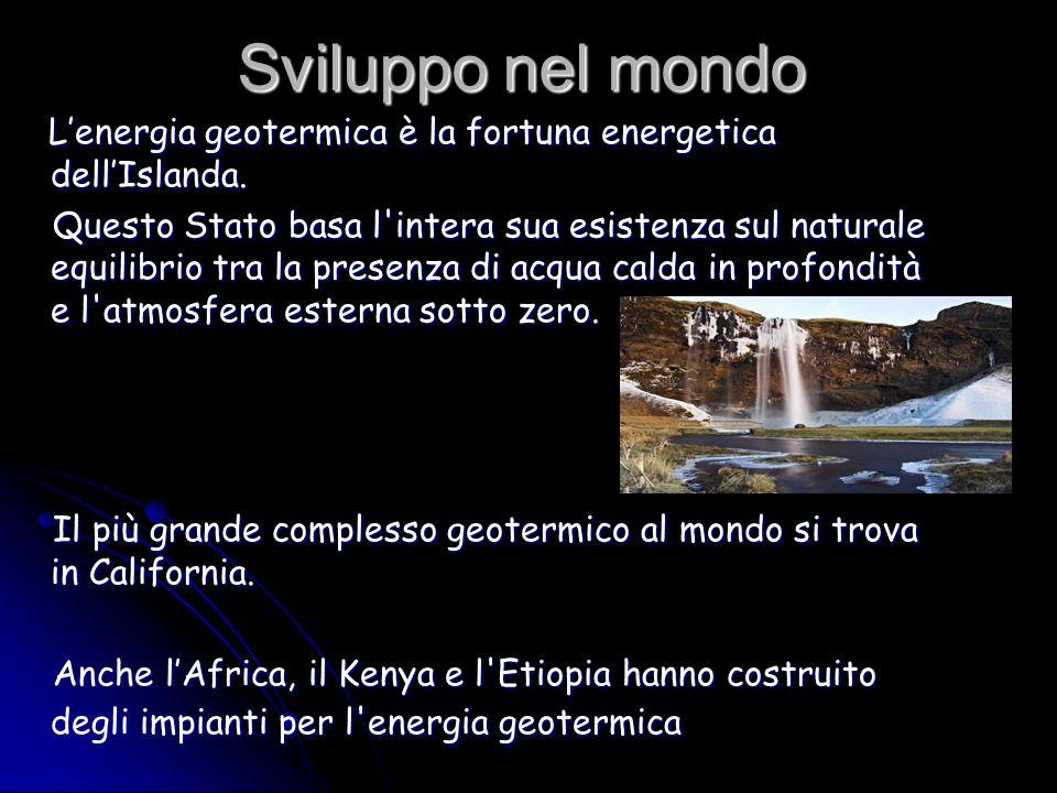 Sviluppo nel mondo Lenergia geotermica è la fortuna energetica dellIslanda. Lenergia geotermica è la fortuna energetica dellIslanda. Questo Stato basa