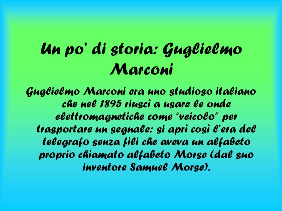 Un po di storia: Guglielmo Marconi Guglielmo Marconi era uno studioso italiano che nel 1895 riuscì a usare le onde elettromagnetiche come veicolo per trasportare un segnale: si aprì così lera del telegrafo senza fili che aveva un alfabeto proprio chiamato alfabeto Morse (dal suo inventore Samuel Morse).