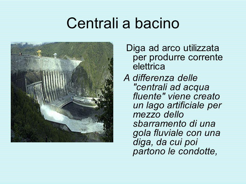 Centrali a bacino Diga ad arco utilizzata per produrre corrente elettrica A differenza delle