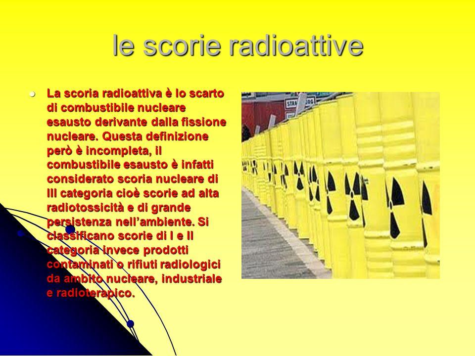 le scorie radioattive La scoria radioattiva è lo scarto di combustibile nucleare esausto derivante dalla fissione nucleare. Questa definizione però è