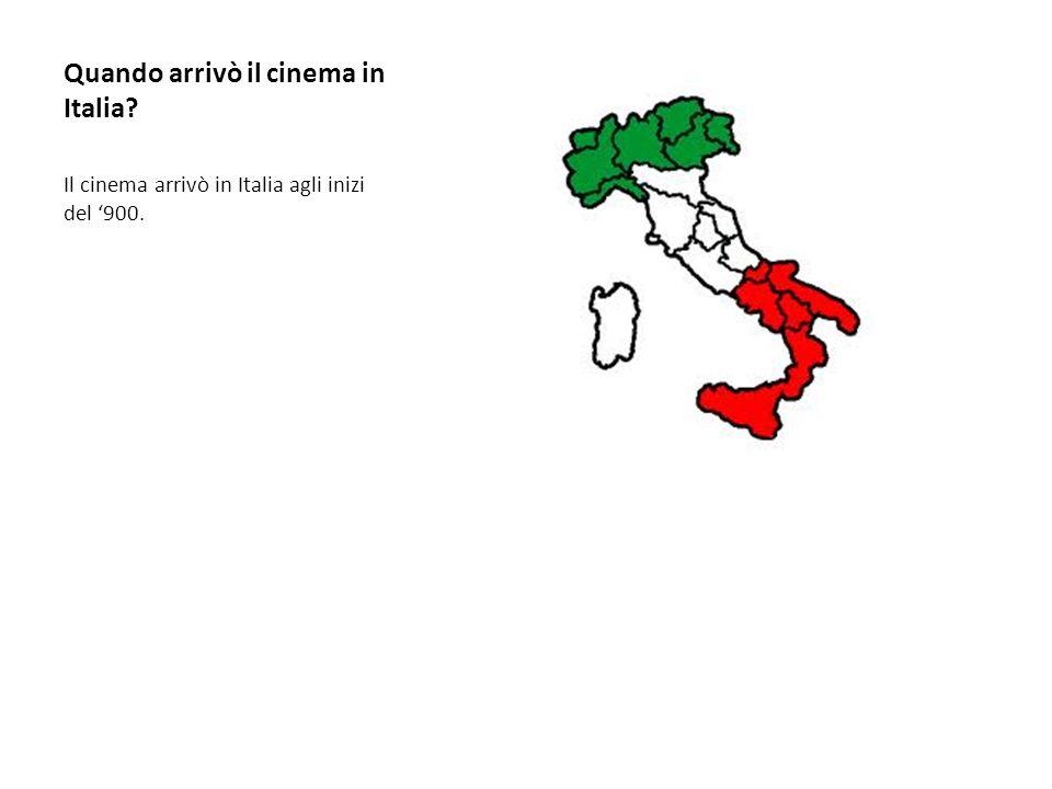 Quando arrivò il cinema in Italia? Il cinema arrivò in Italia agli inizi del 900.