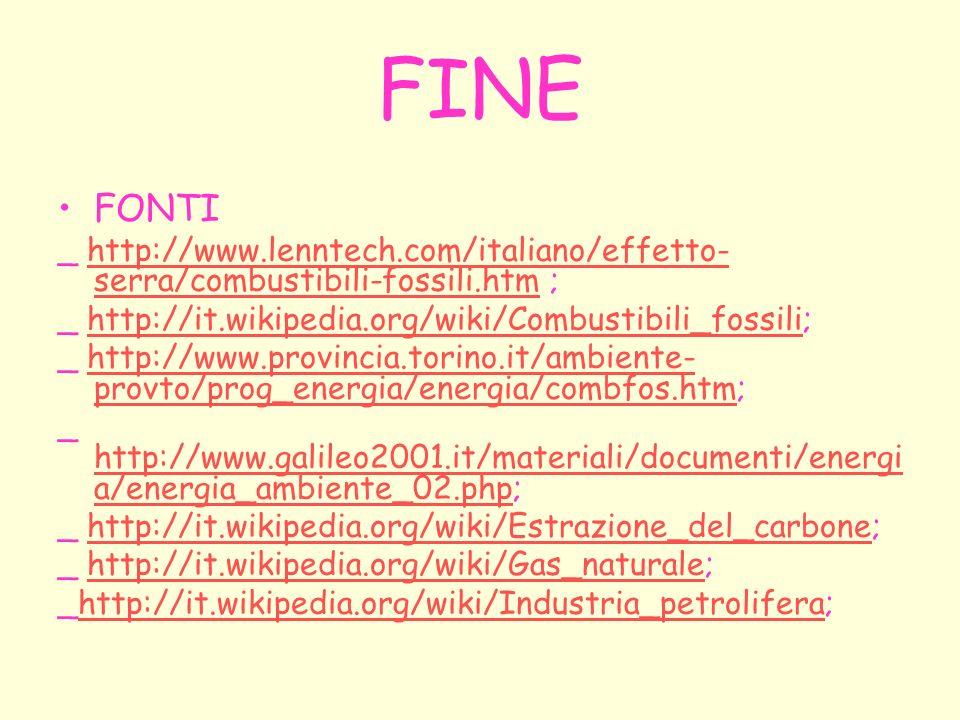 FINE FONTI _ http://www.lenntech.com/italiano/effetto- serra/combustibili-fossili.htm ;http://www.lenntech.com/italiano/effetto- serra/combustibili-fo