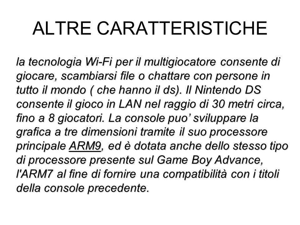 ALTRE CARATTERISTICHE la tecnologia Wi-Fi per il multigiocatore consente di giocare, scambiarsi file o chattare con persone in tutto il mondo ( che ha