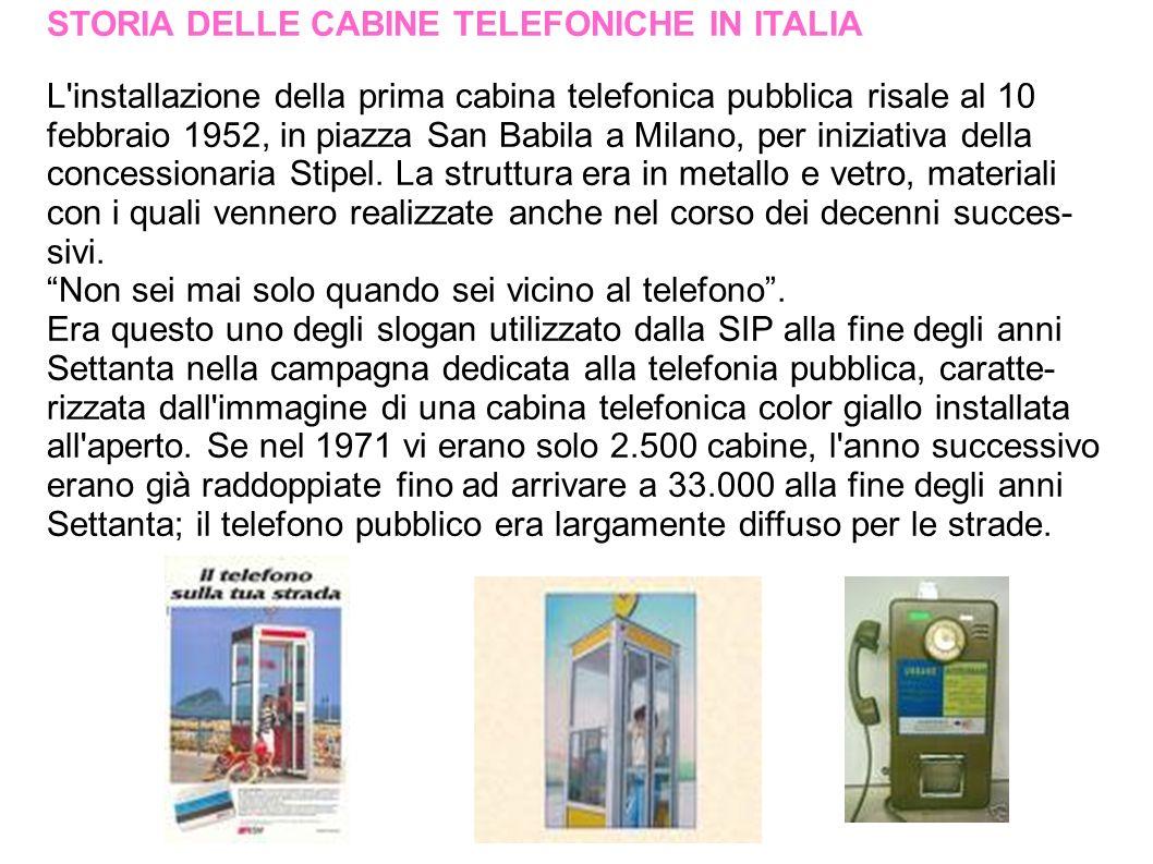 BIBLIOGRAFIA Ricerca di: Baschetti Valentina & Ceccaroni Chiara http://it.wikipedia.org/wiki/Cabina_telefonica http://it.wikipedia.org/wiki/Gettone_telefonico http://italiaaltelefono.alice.it/alfabeto/gi.html http://www.lamonetapedia.it/index.php/Gettone-Telefonico www.telecomitalia.it/cgibin/tiportale/TIPortale/ep/contentView http://www.london30.com/it/galleria-detail-londra-le- leggendarie-cabine-telefoniche-rosse-di-londra-206-3.html http://economistiinvisibili.splinder.com/post/9393451/breve+sto ria+della+telefonia http://www.italica.rai.it/principali/lingua/culture/telefono.htm http://www.viverecivitanova.it/index.php?page=articolo&artico lo_id=186158