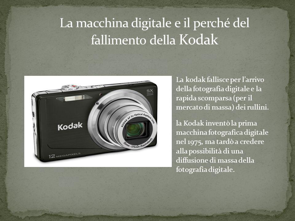 La kodak fallisce per larrivo della fotografia digitale e la rapida scomparsa (per il mercato di massa) dei rullini.