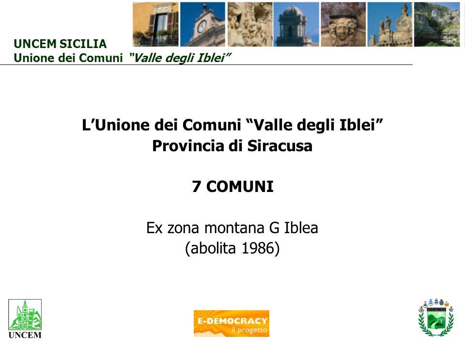 LUnione dei Comuni Valle degli Iblei Provincia di Siracusa 7 COMUNI Ex zona montana G Iblea (abolita 1986) UNCEM SICILIA Unione dei Comuni Valle degli
