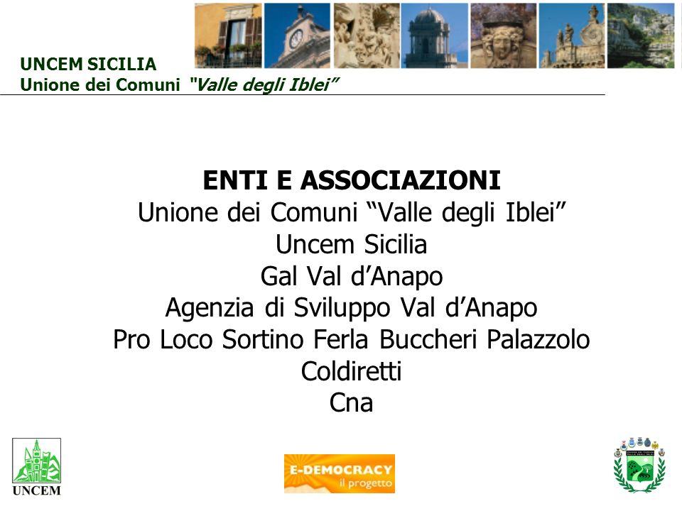 UNCEM SICILIA Unione dei Comuni Valle degli Iblei ENTI E ASSOCIAZIONI Unione dei Comuni Valle degli Iblei Uncem Sicilia Gal Val dAnapo Agenzia di Svil