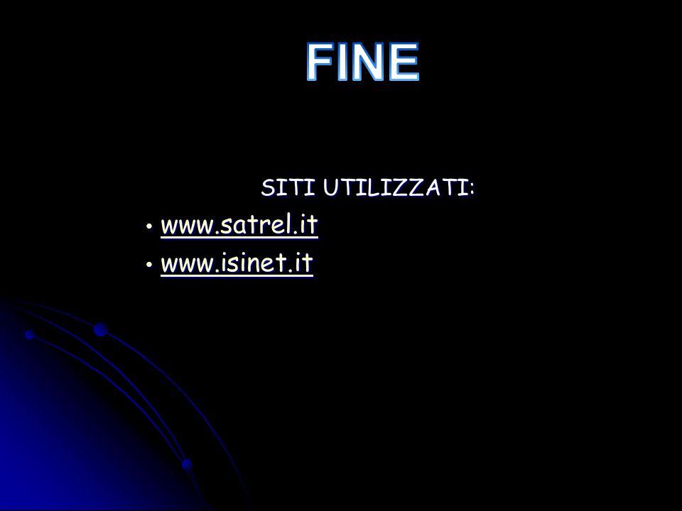 SITI UTILIZZATI: www.satrel.it www.satrel.itwww.satrel.it www.isinet.it www.isinet.itwww.isinet.it