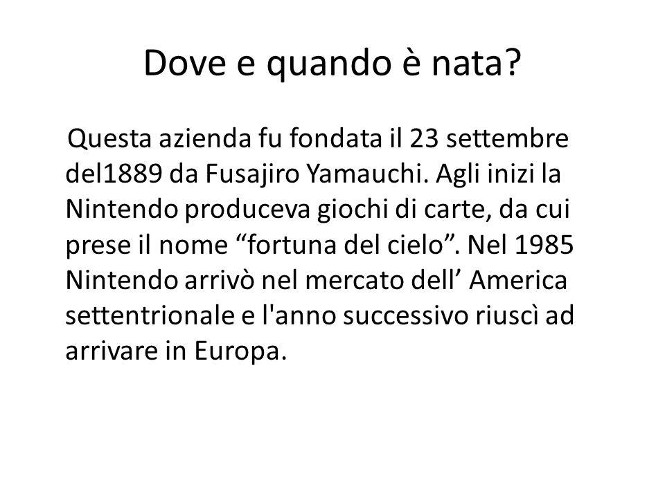 Dove e quando è nata? Questa azienda fu fondata il 23 settembre del1889 da Fusajiro Yamauchi. Agli inizi la Nintendo produceva giochi di carte, da cui
