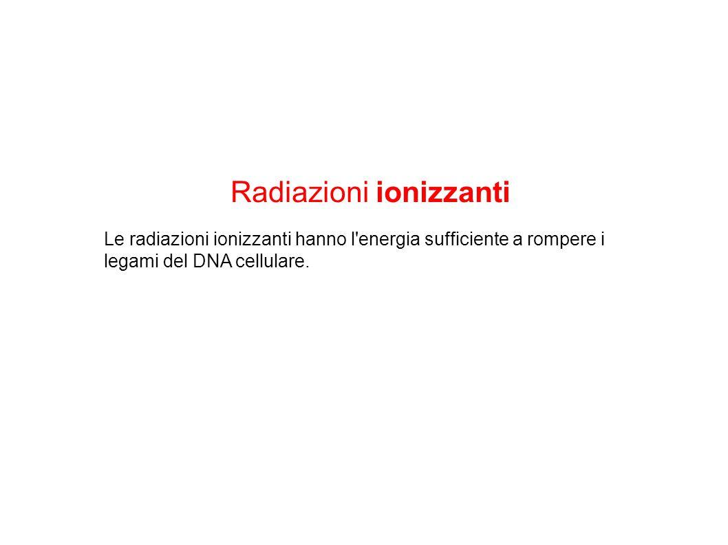 Radiazioni ionizzanti Le radiazioni ionizzanti hanno l'energia sufficiente a rompere i legami del DNA cellulare.