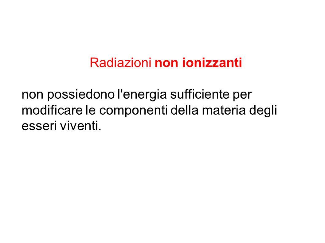 Radiazioni non ionizzanti non possiedono l'energia sufficiente per modificare le componenti della materia degli esseri viventi.