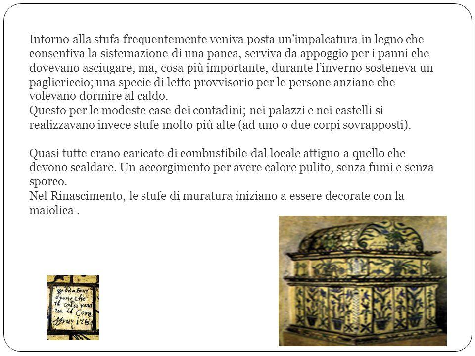 Il modello adottato principalmente nelle regioni dellarco alpino e nelle nazioni dellEuropa centrale fu quello della stufa costruita in muratura o in