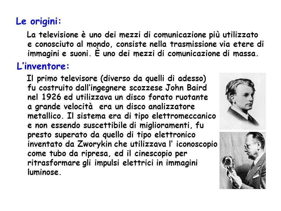 Le origini: La televisione è uno dei mezzi di comunicazione più utilizzato e conosciuto al mondo, consiste nella trasmissione via etere di immagini e