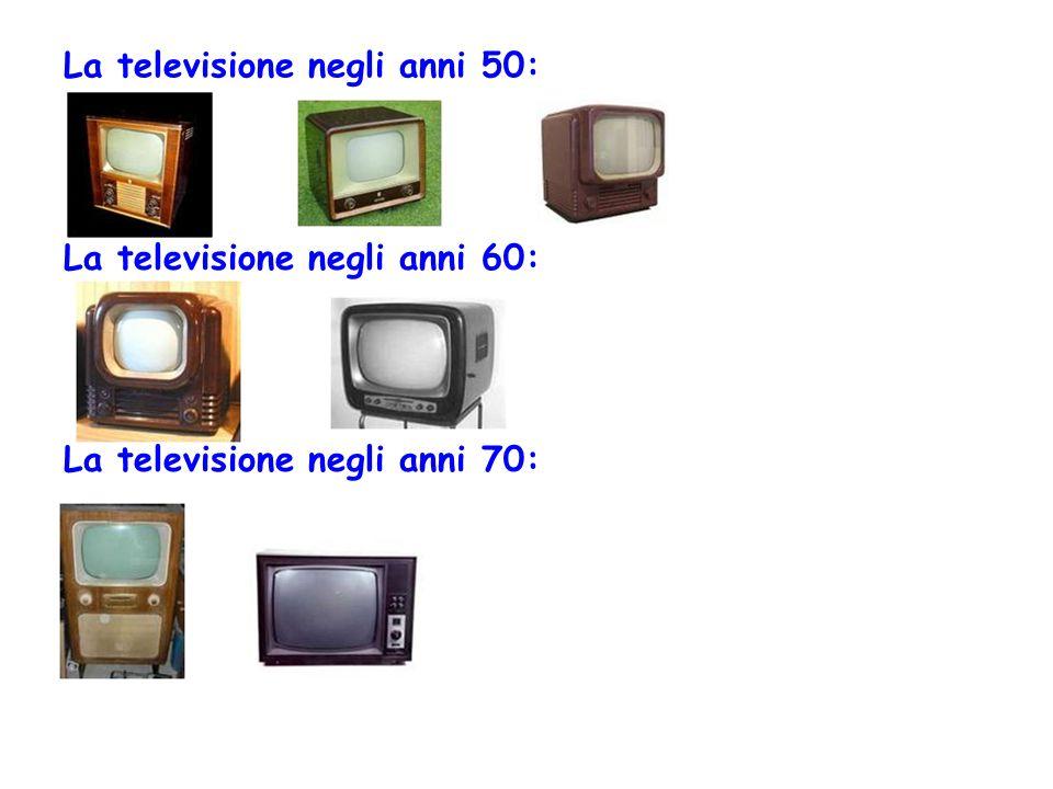 La televisione negli anni 50: La televisione negli anni 60: La televisione negli anni 70: