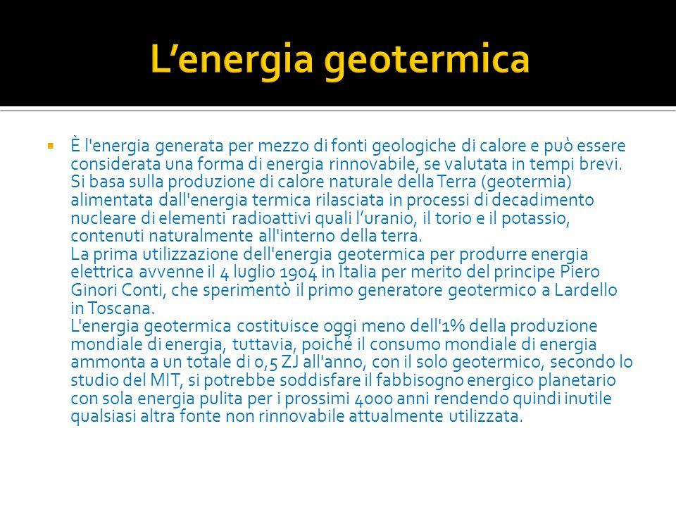 È l'energia generata per mezzo di fonti geologiche di calore e può essere considerata una forma di energia rinnovabile, se valutata in tempi brevi. Si
