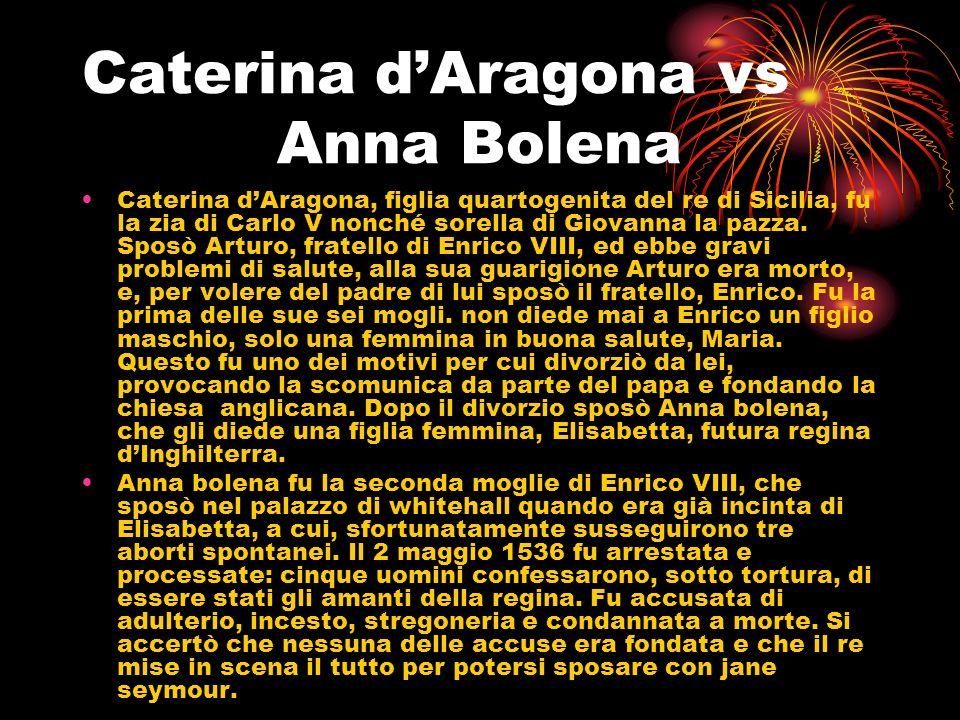 Caterina dAragona vs Anna Bolena Caterina dAragona, figlia quartogenita del re di Sicilia, fu la zia di Carlo V nonché sorella di Giovanna la pazza. S