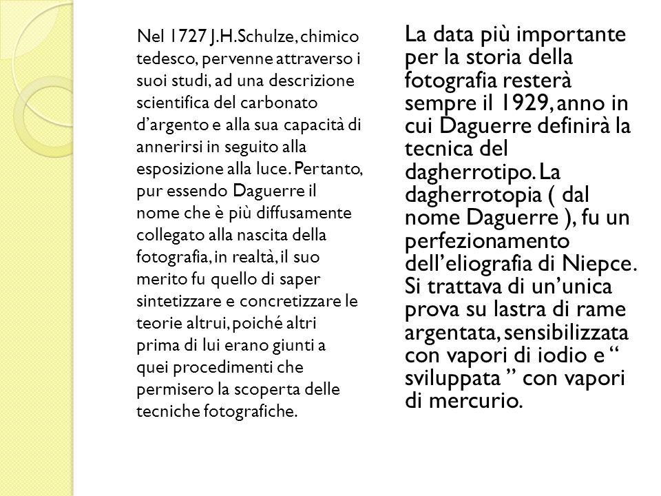 Nel 1727 J.H.Schulze, chimico tedesco, pervenne attraverso i suoi studi, ad una descrizione scientifica del carbonato dargento e alla sua capacità di annerirsi in seguito alla esposizione alla luce.