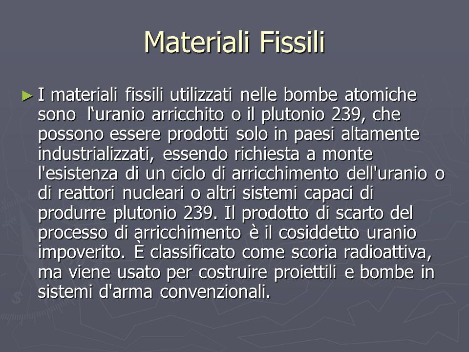 Materiali Fissili I materiali fissili utilizzati nelle bombe atomiche sono luranio arricchito o il plutonio 239, che possono essere prodotti solo in p