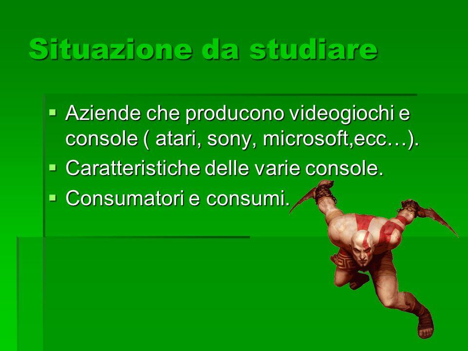 Situazione da studiare Aziende che producono videogiochi e console ( atari, sony, microsoft,ecc…). Aziende che producono videogiochi e console ( atari