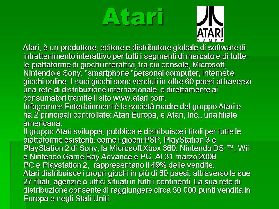 Atari Atari Atari, è un produttore, editore e distributore globale di software di intrattenimento interattivo per tutti i segmenti di mercato e di tutte le piattaforme di giochi interattivi, tra cui console, Microsoft, Nintendo e Sony, smartphone personal computer, Internet e giochi online.
