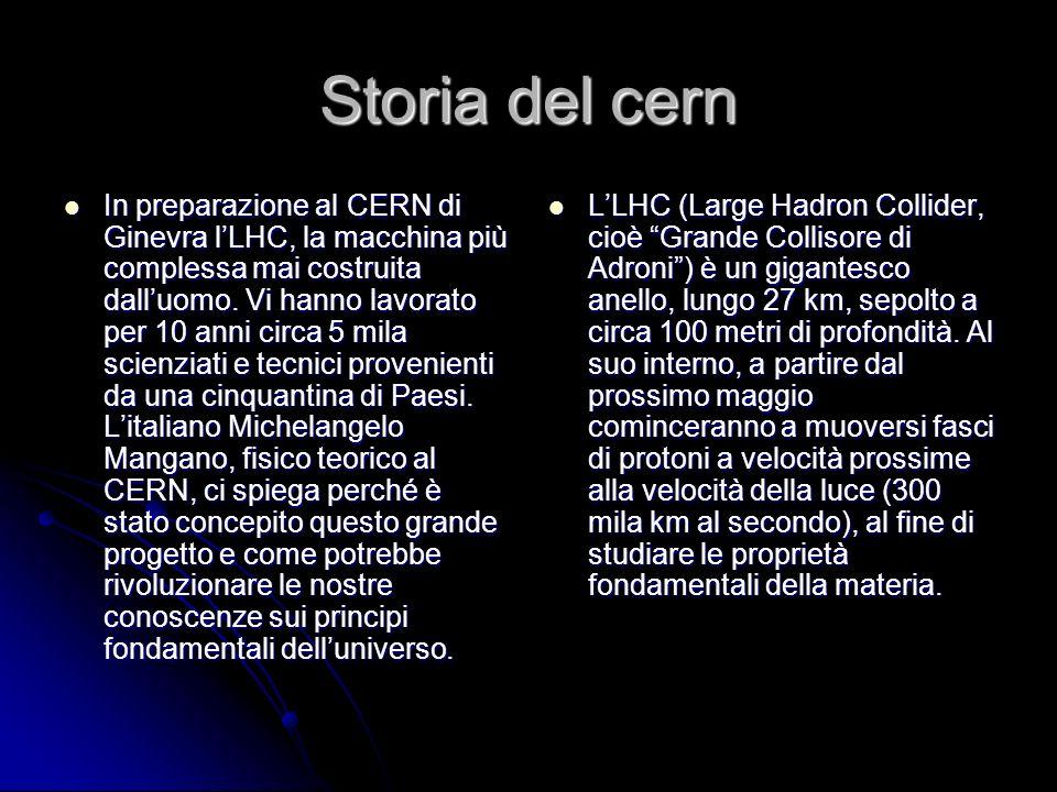 Storia del cern In preparazione al CERN di Ginevra lLHC, la macchina più complessa mai costruita dalluomo. Vi hanno lavorato per 10 anni circa 5 mila