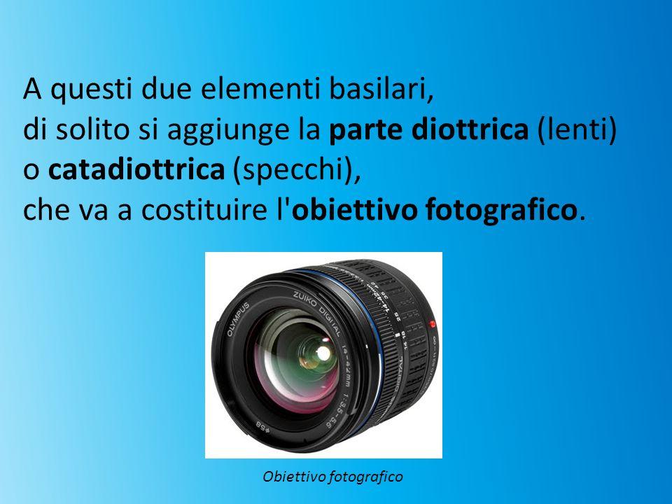 A questi due elementi basilari, di solito si aggiunge la parte diottrica (lenti) o catadiottrica (specchi), che va a costituire l'obiettivo fotografic