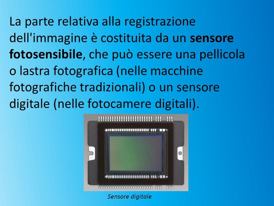 La parte relativa alla registrazione dell'immagine è costituita da un sensore fotosensibile, che può essere una pellicola o lastra fotografica (nelle