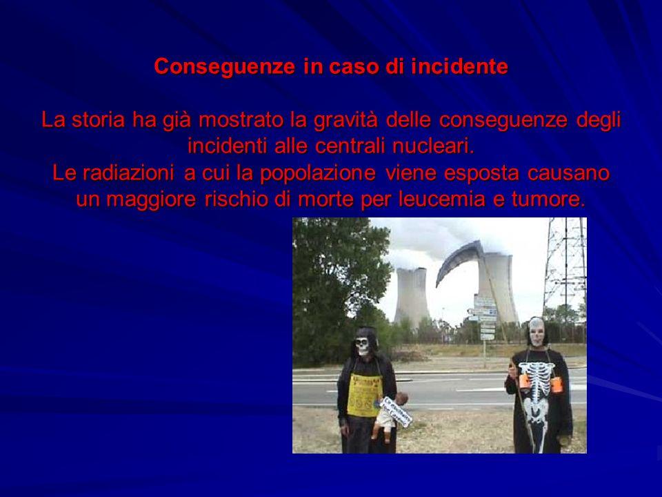 Conseguenze in caso di incidente La storia ha già mostrato la gravità delle conseguenze degli incidenti alle centrali nucleari. Le radiazioni a cui la