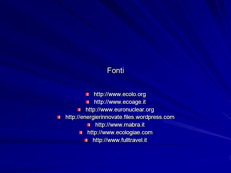 Fonti http://www.ecolo.orghttp://www.ecoage.ithttp://www.euronuclear.orghttp://energierinnovate.files.wordpress.comhttp://www.mabra.ithttp://www.ecolo