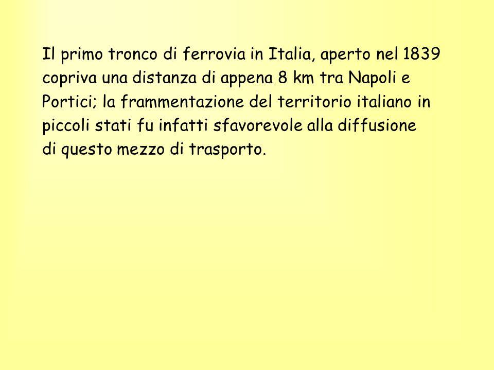 Il primo tronco di ferrovia in Italia, aperto nel 1839 copriva una distanza di appena 8 km tra Napoli e Portici; la frammentazione del territorio ital