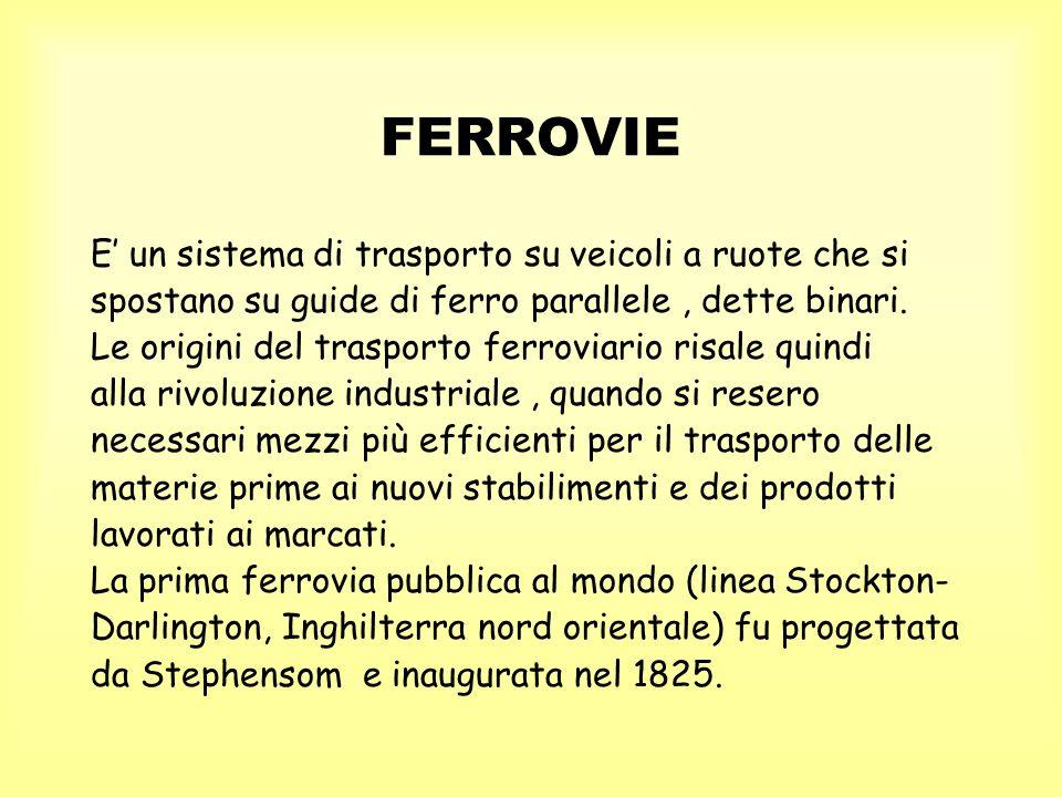 FERROVIE E un sistema di trasporto su veicoli a ruote che si spostano su guide di ferro parallele, dette binari. Le origini del trasporto ferroviario