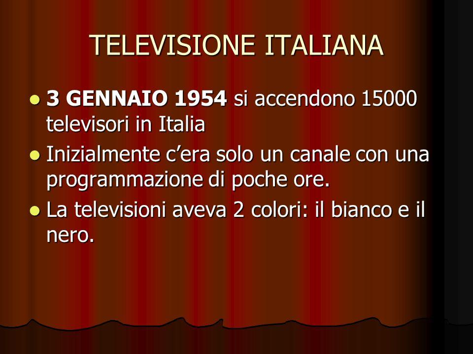 TELEVISIONE ITALIANA 3 GENNAIO 1954 si accendono 15000 televisori in Italia 3 GENNAIO 1954 si accendono 15000 televisori in Italia Inizialmente cera solo un canale con una programmazione di poche ore.