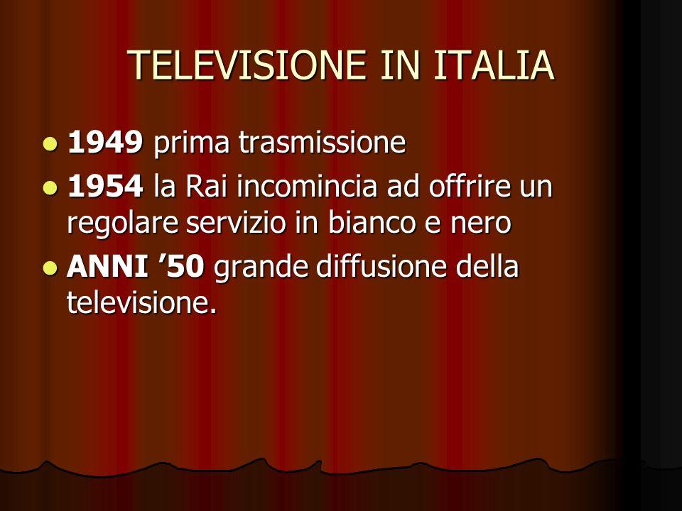 TELEVISIONE IN ITALIA 1949 prima trasmissione 1949 prima trasmissione 1954 la Rai incomincia ad offrire un regolare servizio in bianco e nero 1954 la Rai incomincia ad offrire un regolare servizio in bianco e nero ANNI 50 grande diffusione della televisione.