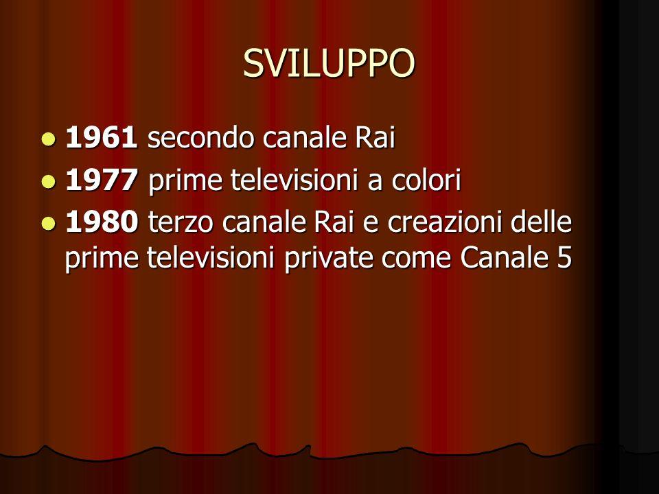 SVILUPPO 1961 secondo canale Rai 1961 secondo canale Rai 1977 prime televisioni a colori 1977 prime televisioni a colori 1980 terzo canale Rai e creaz