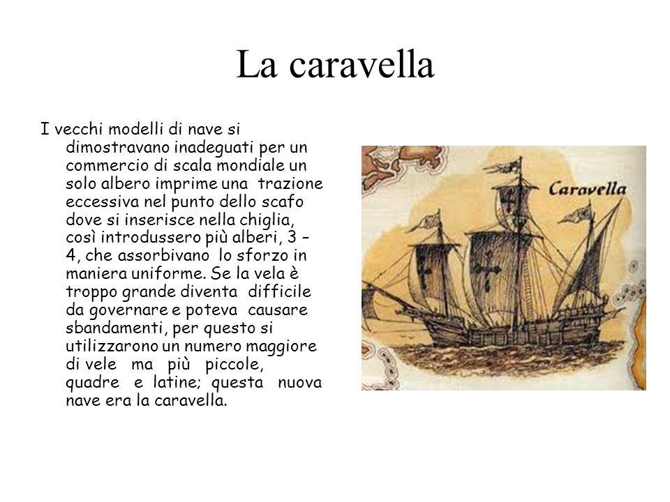La caravella I vecchi modelli di nave si dimostravano inadeguati per un commercio di scala mondiale un solo albero imprime una trazione eccessiva nel