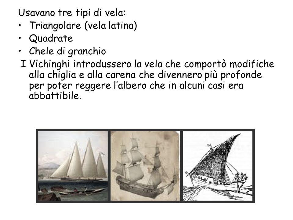 Usavano tre tipi di vela: Triangolare (vela latina) Quadrate Chele di granchio I Vichinghi introdussero la vela che comportò modifiche alla chiglia e