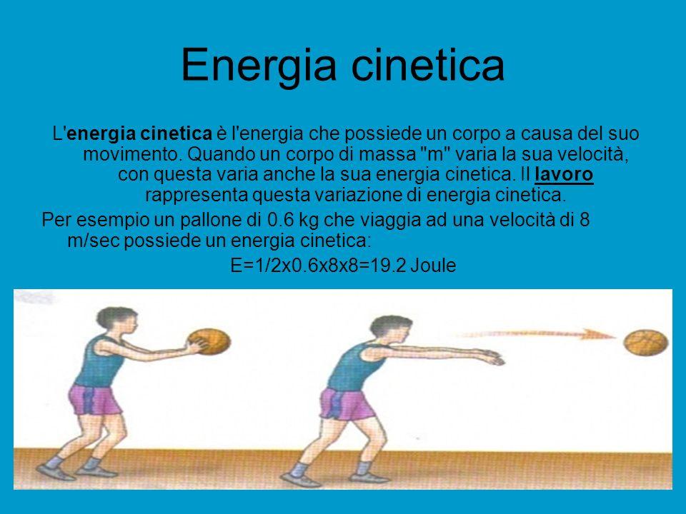 Energia cinetica L'energia cinetica è l'energia che possiede un corpo a causa del suo movimento. Quando un corpo di massa