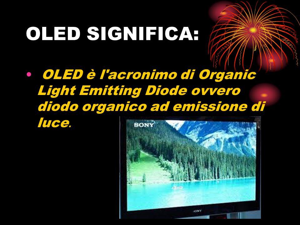 OLED SIGNIFICA: OLED è l acronimo di Organic Light Emitting Diode ovvero diodo organico ad emissione di luce.