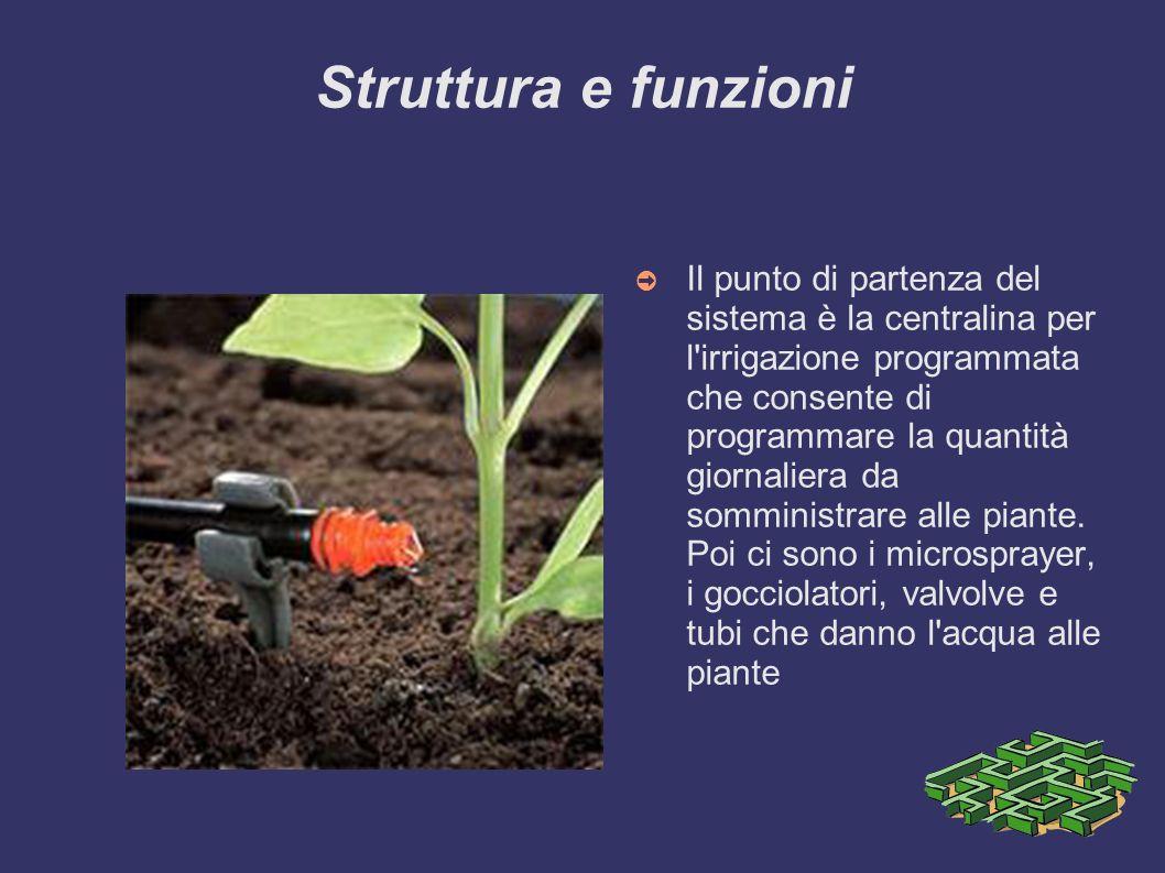 Struttura e funzioni Il punto di partenza del sistema è la centralina per l'irrigazione programmata che consente di programmare la quantità giornalier