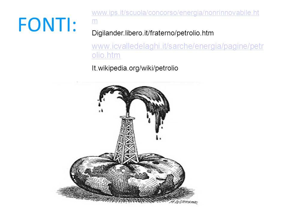 FONTI: www.ips.it/scuola/concorso/energia/nonrinnovabile.ht m Digilander.libero.it/fraterno/petrolio.htm www.icvalledelaghi.it/sarche/energia/pagine/p