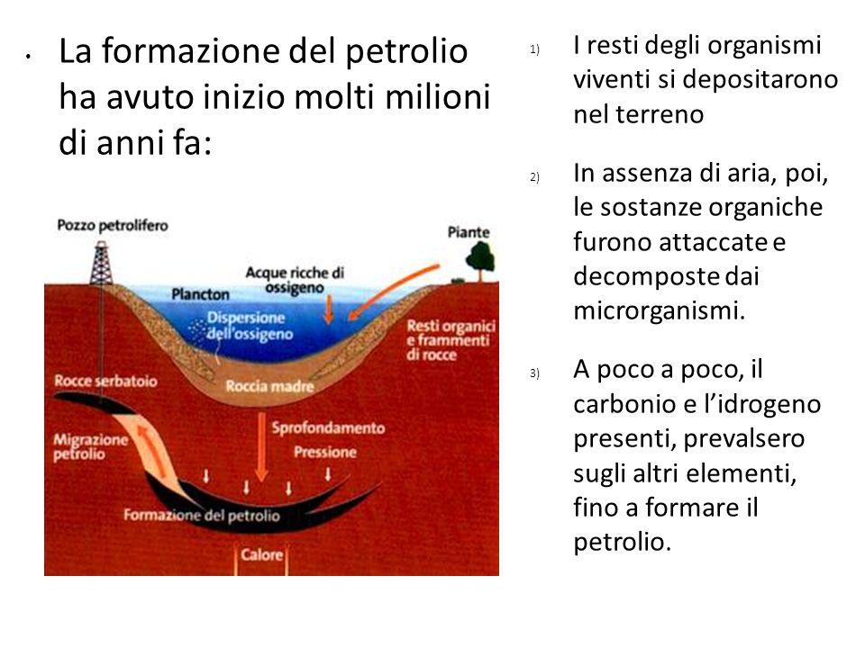 La formazione del petrolio ha avuto inizio molti milioni di anni fa: 1) I resti degli organismi viventi si depositarono nel terreno 2) In assenza di a