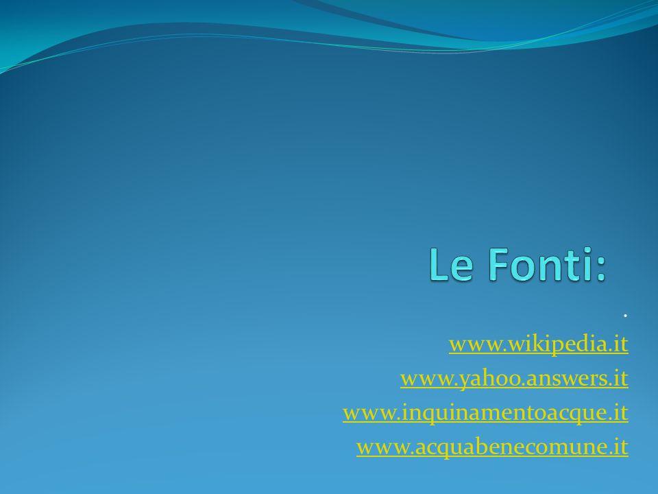 . www.wikipedia.it www.yahoo.answers.it www.inquinamentoacque.it www.acquabenecomune.it